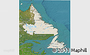 Shaded Relief 3D Map of Newfoundland and Labrador, satellite outside
