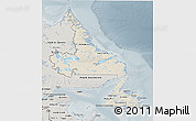 Shaded Relief 3D Map of Newfoundland and Labrador, semi-desaturated