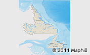 Shaded Relief 3D Map of Newfoundland and Labrador, single color outside
