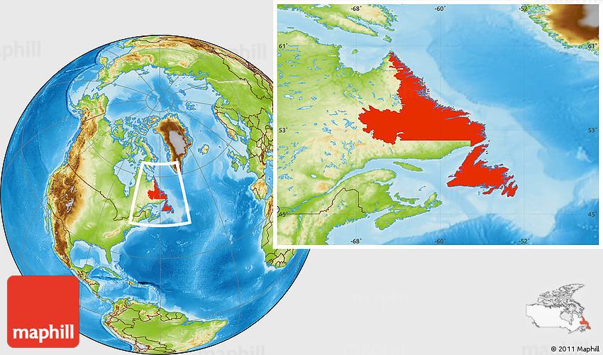 Physical Location Map of Newfoundland and Labrador