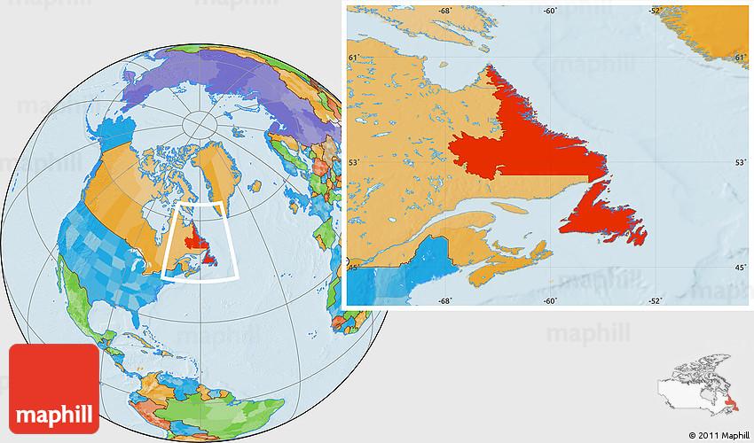 Political Location Map of Newfoundland and Labrador