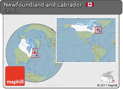 Free Savanna Style Location Map of Newfoundland and Labrador ...