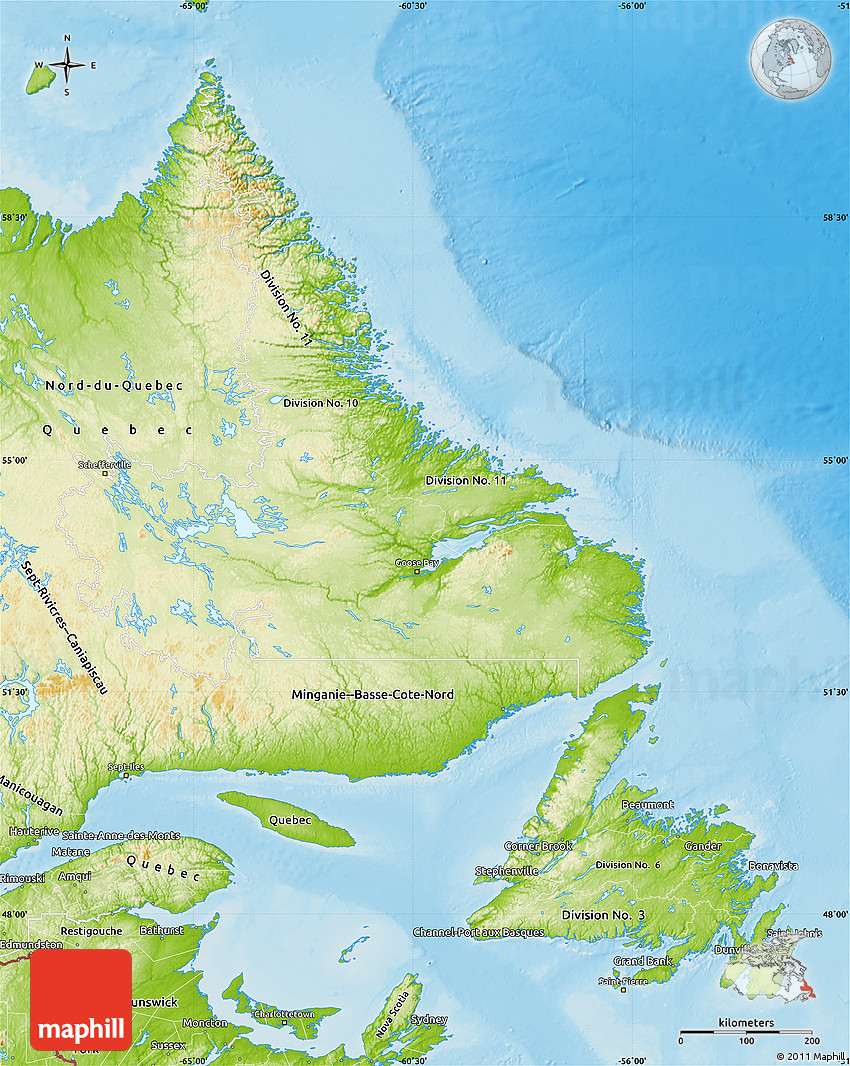 Physical Map Of Newfoundland And Labrador