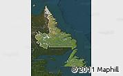 Satellite Map of Newfoundland and Labrador, darken