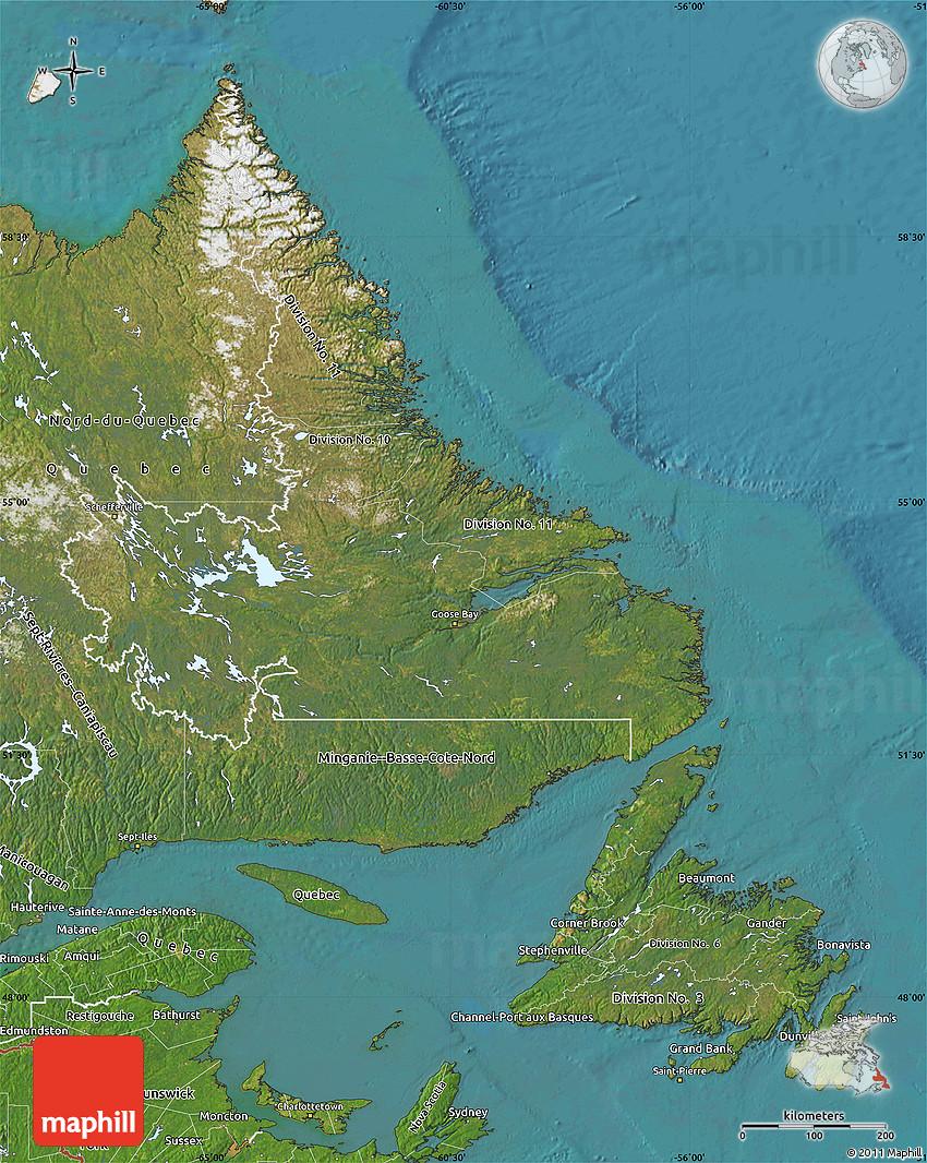 Satellite Map of Newfoundland and Labrador