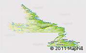 Physical Panoramic Map of Newfoundland and Labrador, cropped outside