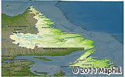 Physical Panoramic Map of Newfoundland and Labrador, darken