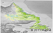 Physical Panoramic Map of Newfoundland and Labrador, desaturated