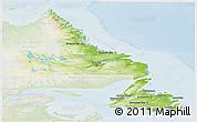Physical Panoramic Map of Newfoundland and Labrador, lighten