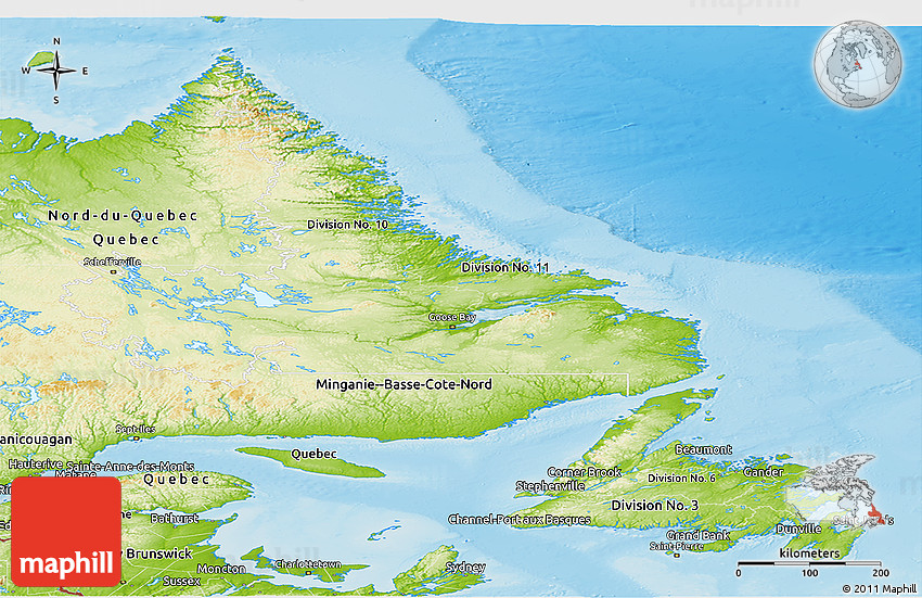 Physical Panoramic Map Of Newfoundland And Labrador - Map of newfoundland