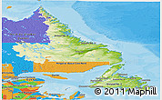 Physical Panoramic Map of Newfoundland and Labrador, political outside