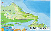 Physical Panoramic Map of Newfoundland and Labrador, political shades outside
