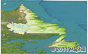Physical Panoramic Map of Newfoundland and Labrador, satellite outside