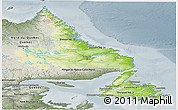 Physical Panoramic Map of Newfoundland and Labrador, semi-desaturated