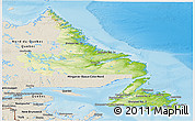 Physical Panoramic Map of Newfoundland and Labrador, shaded relief outside