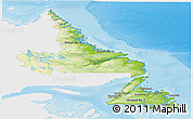 Physical Panoramic Map of Newfoundland and Labrador, single color outside