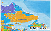 Political Panoramic Map of Newfoundland and Labrador