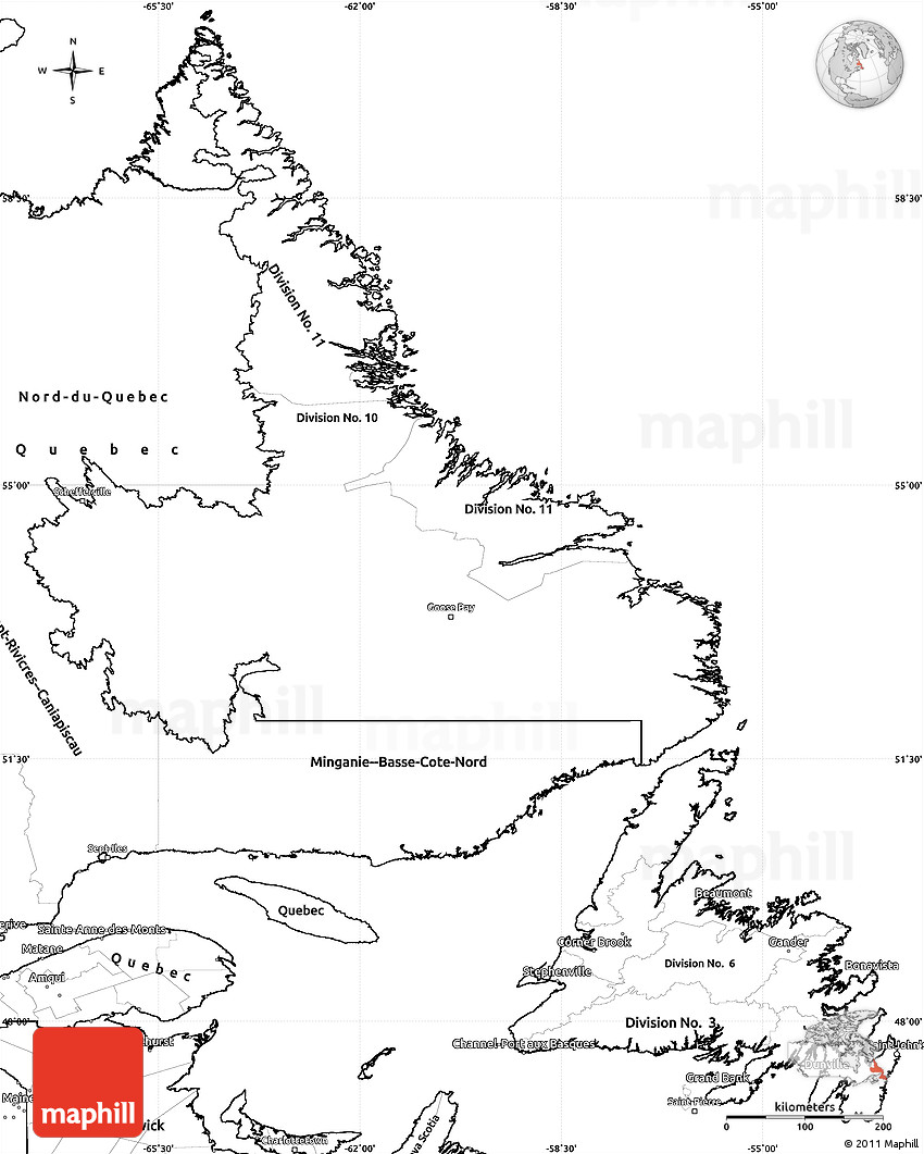 Blank Simple Map Of Newfoundland And Labrador - Map of newfoundland