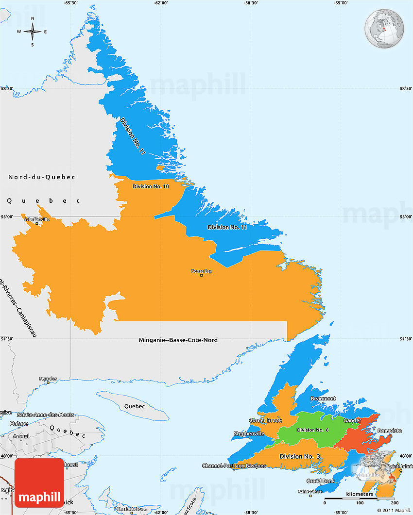 Free Political Simple Map Of Newfoundland And Labrador Single - Political canada map