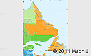 Political Shades Simple Map of Newfoundland and Labrador