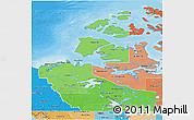 Political Shades 3D Map of Northwest Territories