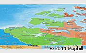 Political Shades Panoramic Map of Northwest Territories