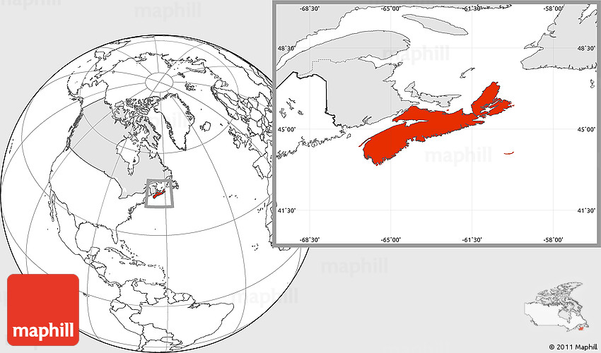 Blank Location Map of Nova Scotia highlighted country
