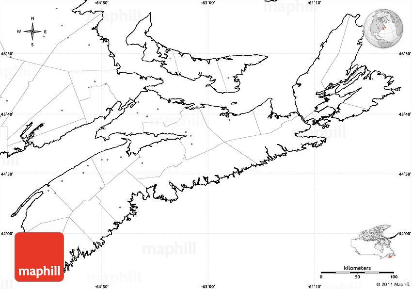 Map Of Canada No Labels.Blank Simple Map Of Nova Scotia No Labels
