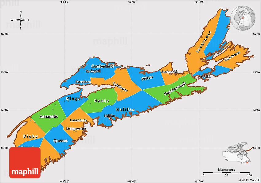Political Map Of Nova Scotia Canada Political Simple Map of Nova Scotia, cropped outside