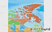 Political Shades 3D Map of Nunavut