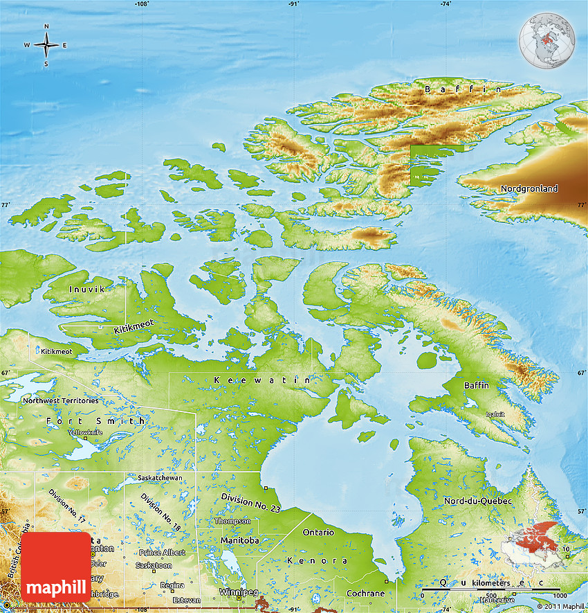 Physical Map of Nunavut