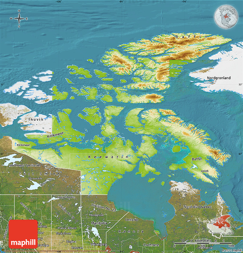 Physical Map Of Nunavut Satellite Outside - Nunavut map