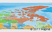 Political Shades Panoramic Map of Nunavut