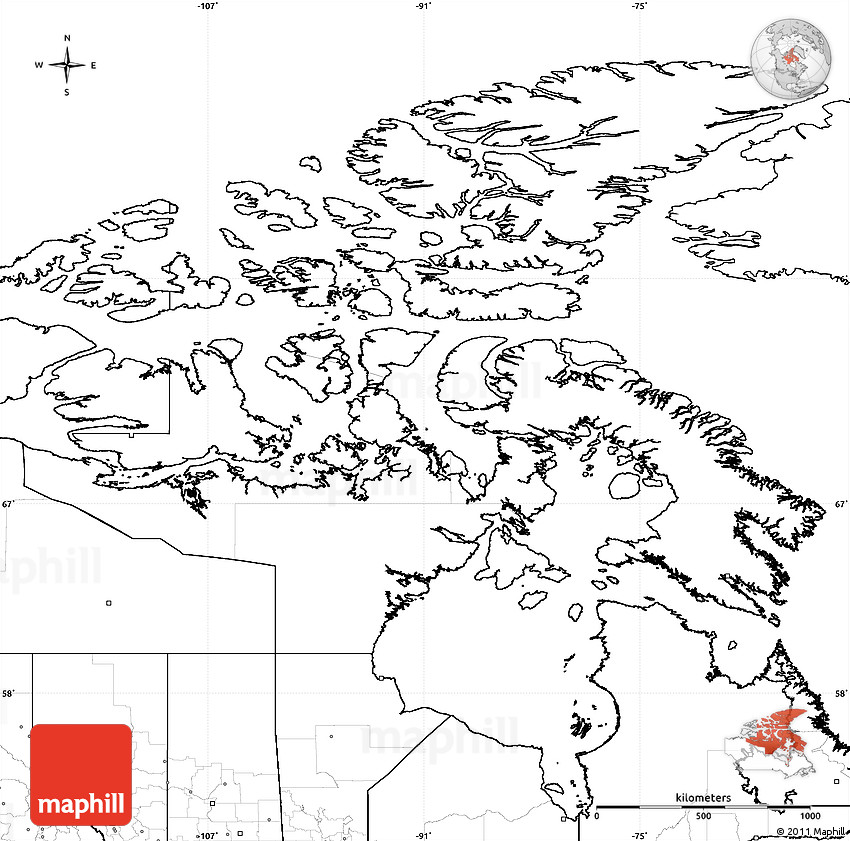 Map Of Canada Nunavut.Blank Simple Map Of Nunavut No Labels