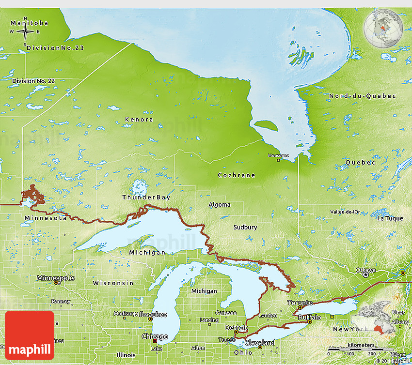 Physical 3D Map of Ontario