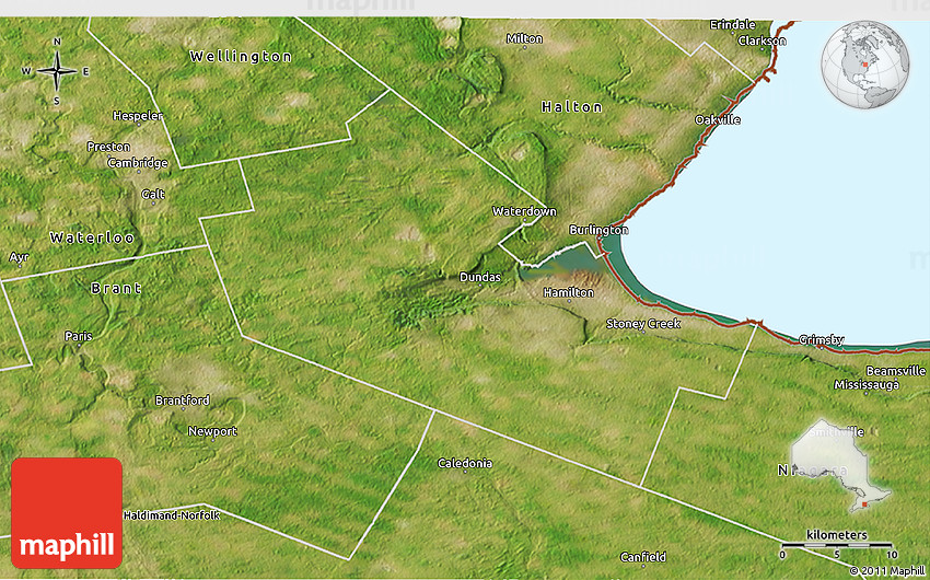 Hamilton Ontario Canada Map.Satellite 3d Map Of Hamilton