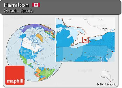 Hamilton Ontario Canada Map.Free Political Location Map Of Hamilton Highlighted Country