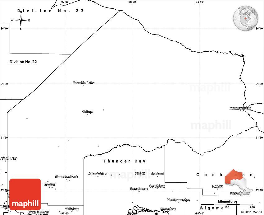 Map Of Kenora Canada.Blank Simple Map Of Kenora
