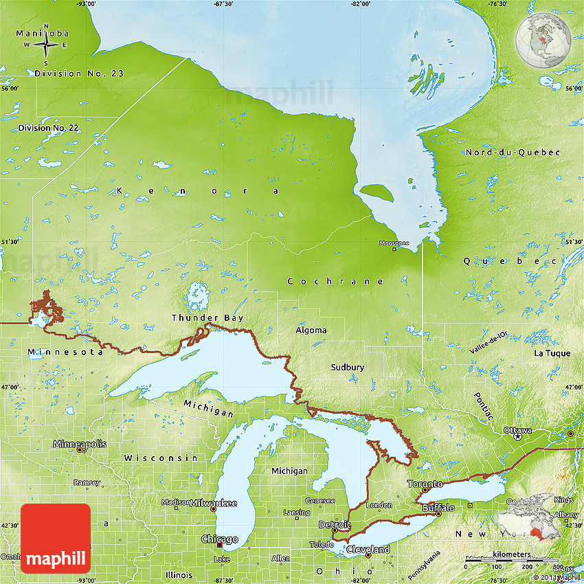 Physical Map Of Ontario - Map of ontario canada
