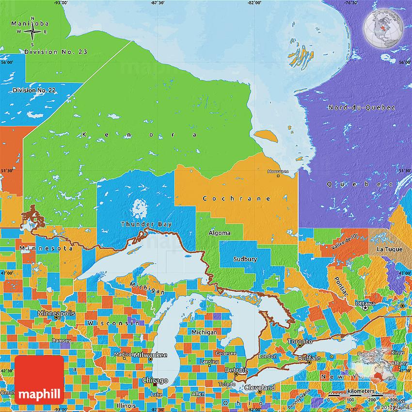 Political Map Of Ontario Canada.Political Map Of Ontario