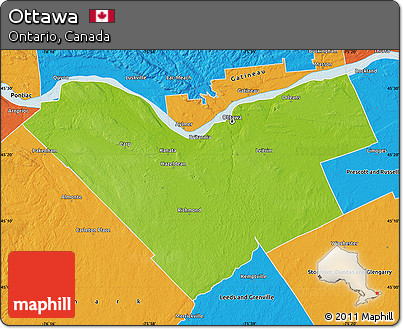 Free Physical Map Of Ottawa Political Outside - Political and physical map of canada