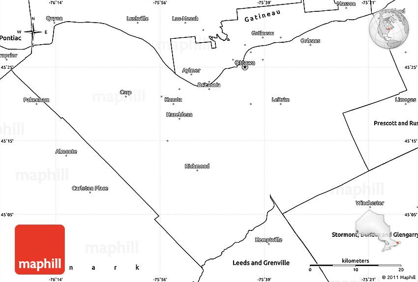 Blank Simple Map of Ottawa