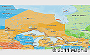 Political Shades Panoramic Map of Ontario