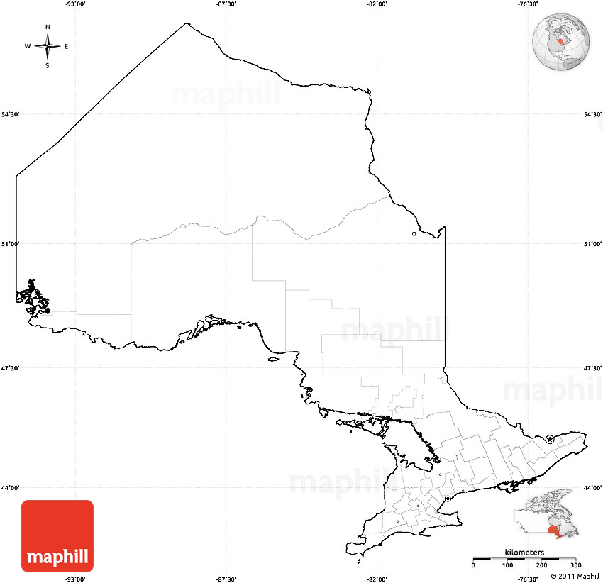 Blank Simple Map of Ontario cropped outside no labels