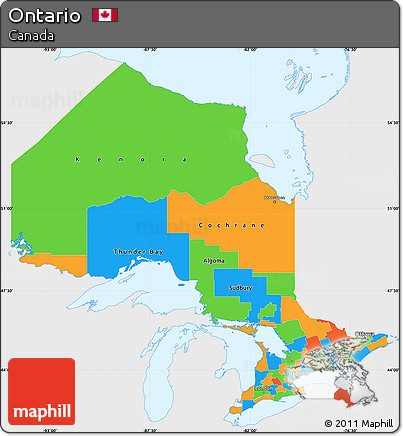 Free Political Simple Map Of Ontario Single Color Outside - Map of ontario canada