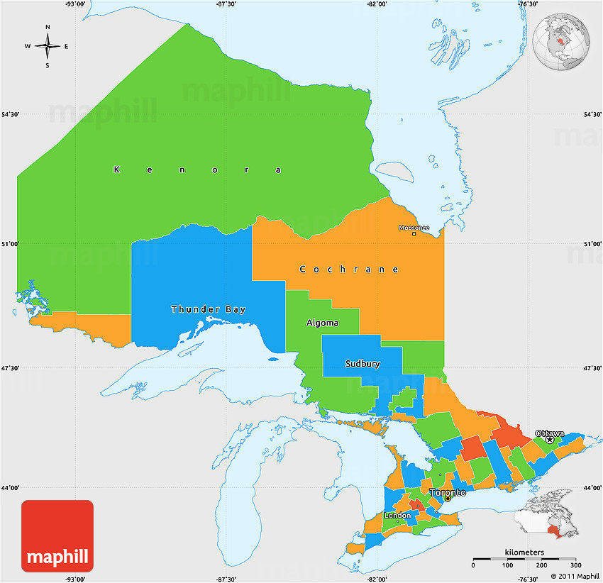 Political Map Of Ontario Canada.Political Simple Map Of Ontario Single Color Outside