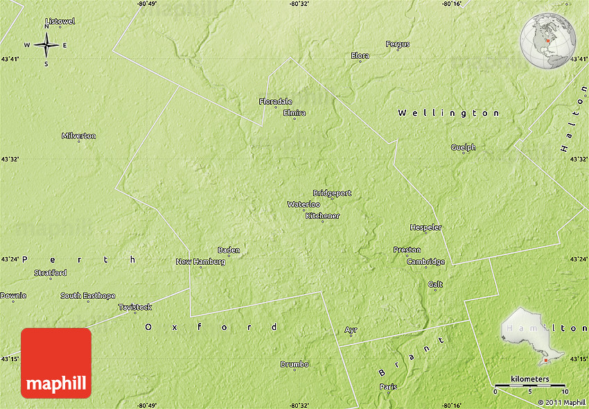 Physical Map of Waterloo on