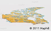 Political Shades Panoramic Map of Canada, cropped outside