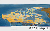 Political Shades Panoramic Map of Canada, darken
