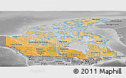 Political Shades Panoramic Map of Canada, desaturated